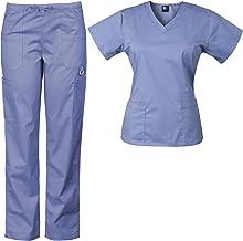 Medgear Women's Solid Scrubs Set Eversoft 2-Way Stretch Fabric 7895ST