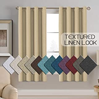 H.VERSAILTEX Linen Curtains Room Darkening Light Blocking Thermal Insulated Heavy Weight Textured Rich Linen Burlap Curtains for Bedroom/Living Room Curtain, 52 by 63 Inch - Beige (1 Panel)
