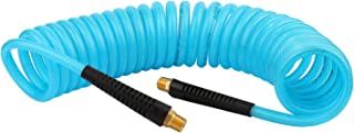 WYNNsky 1/4'' 20ft Recoil PU Air Hose, 1/4''NPT Brass Ends with Black Plastic Straight Cover