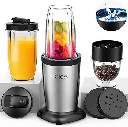 lowest KOIOS 850W outlet online sale Personal Blender for Shakes and Smoothies, 11 Pieces Bullet Single Smoothie Blender for Kitchen, Small Protable Mixer with 2x17 Oz outlet sale and 10 Oz Travel Bottles, 2 Spout Lids, BPA Free (Black) sale