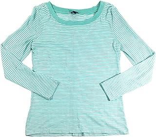 Splendid Women's Cerine Slub Stripe Button Back Top (X-Large, Aqua Mini Stripe)