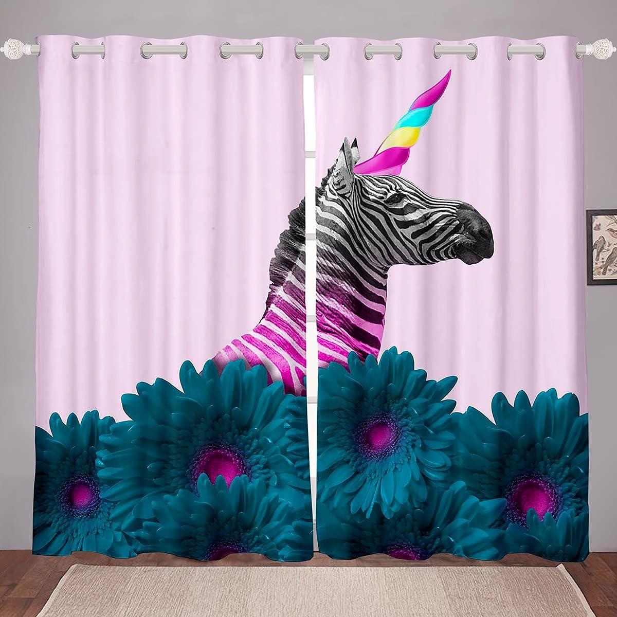 Erosebridal Girls Zebra Max 51% OFF Window Curtains 52