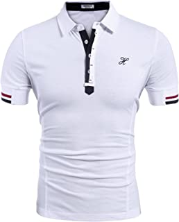 Mens Fashion Polo Shirt Short Sleeve Polo Tee Casual Slim Fit Basic Golf Tee Sport Polo T-Shirts