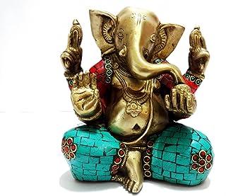 Ganesh Statue, Handmade Auth Large Brass Turquoise Ganesha Ganapati Vinayak Elephant Lord Hindu Deity Idol- India Good Luc...