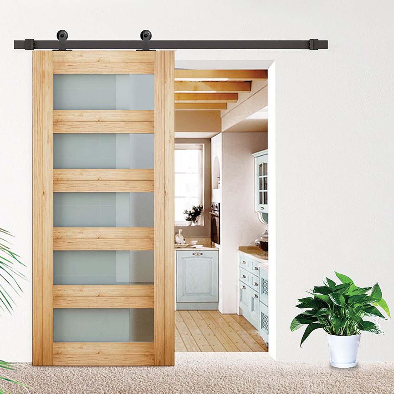Togu tg-9023 5 ft (forma de T) (puerta) puerta corrediza de granero Hardware Kit para madera maciza, puertas de cristal mate acabado en negro: Amazon.es: Bricolaje y herramientas