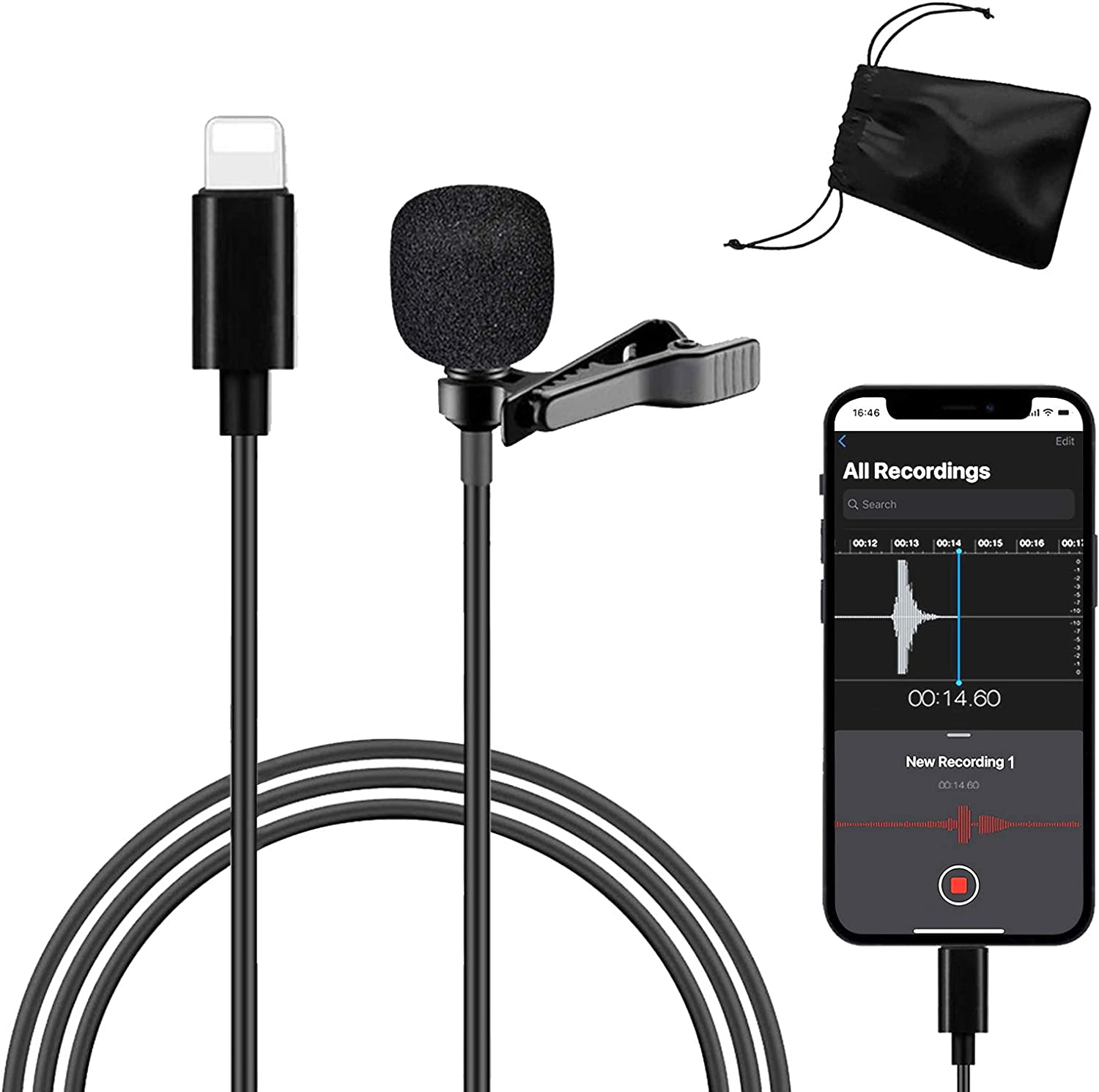 Professional Lavalier NEW before selling Lapel Microphone for Interview Vid iPhone Fort Worth Mall
