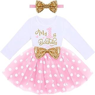 Baby Girls 1st 2nd Birthday Outfit Mouse Ladybug Dress Headband Polka Dots Tutu Skirt Set ONE Cake Smash Photo Shoot