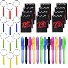 HeroFiber 36 Spy Favors - 12 Invisible Ink Pen with UV Light + 12 Mini TOP Secret Notepads + 12 Magnifying Glasses. - Perf...