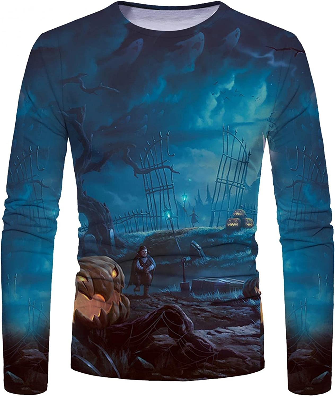 Shirts for Men Men's Halloween Pumpkin 3D Digital Printed T-shirt Long-sleeve Tee Mens Shirts Top Blouse Polo Mens Shirts