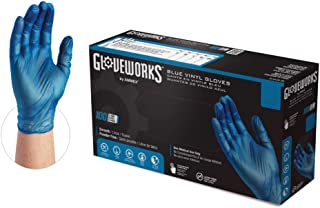 GLOVEWORKS Blue Vinyl Industrial Gloves, Box of 100, 3 Mil, Size Large, Latex Free, Powder Free, Food Safe, Disposable, No...