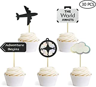 30PCS Adventure Awaits Travel Theme Party Decorations Retirement Farewell Graduation Party Supplies