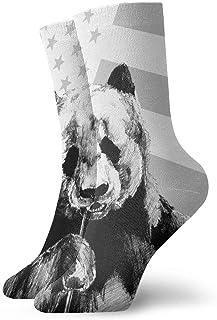 Calcetines casuales Calcetines tobilleros de panda y bandera americana Calcetines de compresión de vestido corto para mujeres Hombres