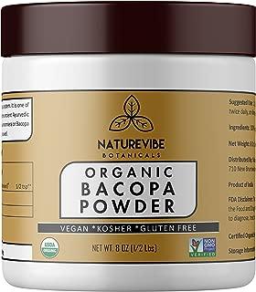 Organic Bacopa Powder (8 Ounce), Bacopa Monnieri | Gluten Free and Non-GMO | Ayurvedic Herbal Supplement | Enhances Memory and Intelligence