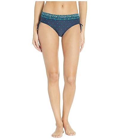 MICHAEL Michael Kors Sunny Batik Border Shirred Hipster Bottoms (New Navy) Women