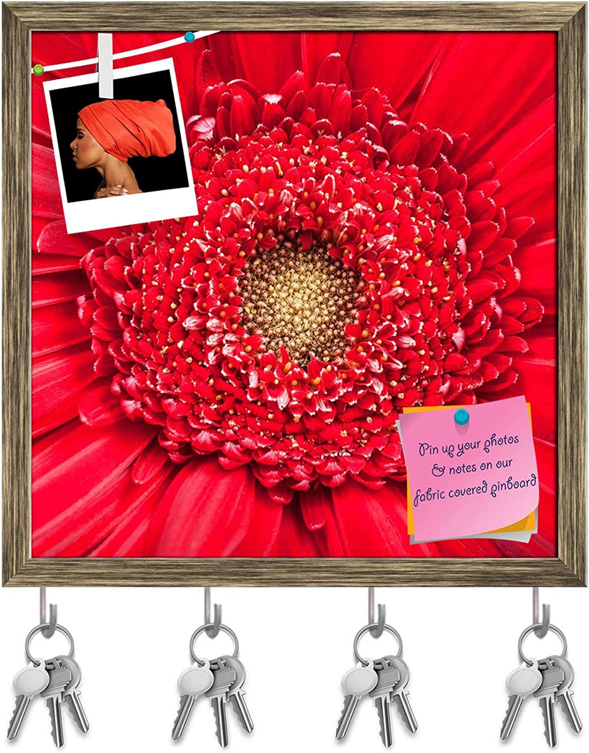 Artzfolio Yellow Center of Red Gerbera Bloom Close Up Key Holder Hooks   Notice Pin Board   Antique golden Frame 20 X 20Inch