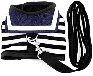 SMALLLEE_LUCKY_STORE Pet Clothes for Small Dog Cat Striped Sailor Vest Harness Leash Set Mesh Padded Lead