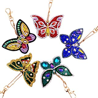 5D DIY Keychains Diamond Painting Kits for Adults Full Diamond Inlaid Cell Phone Handbag and Key Pendant(Color Butterflies)