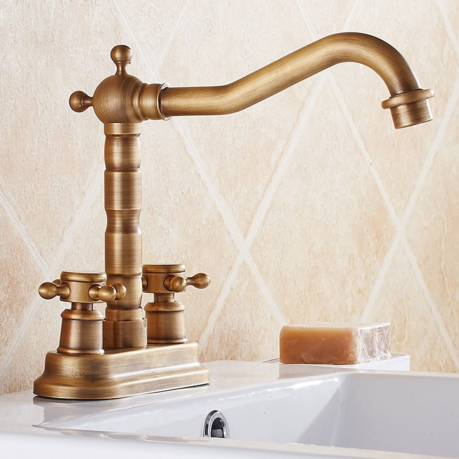 Full Copper Antique Double Basin Faucet hot and Cold Water faucets can be redated