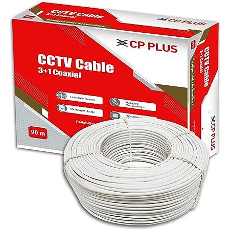 CP PLUS 3+1 Coaxial Pure Copper CCTV Camera Cable (90 Meter) White