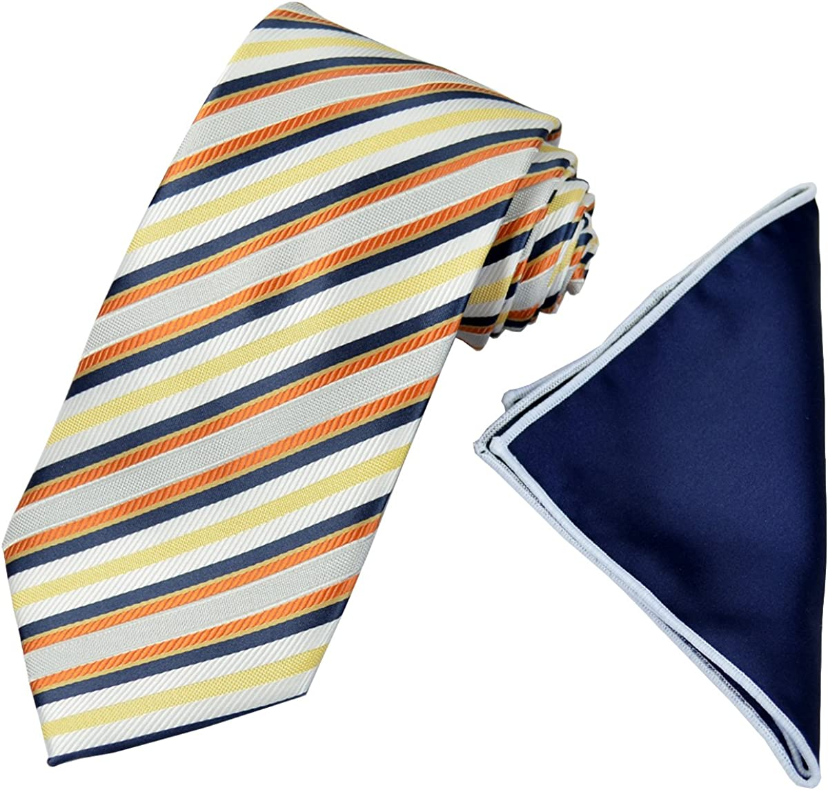 Striped Yellow and Blue Men's Tie with Contrast Pocket Square Set