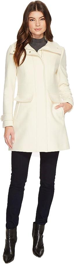 Zip Front Coat w/ Inset Waistband