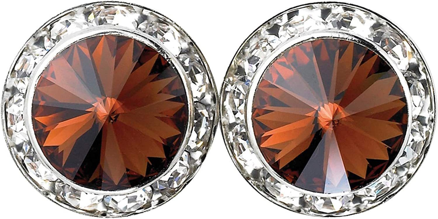 15mm Clip-On Earrings with Swarovski Crystals RU031