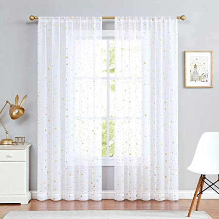 White Sheer Voile Curtains for Girls Room Set 2 Panels Rod Pocket Light Weight Window Treatment Sheer Drapes for Living Room Wedding Party Nursery Kids Room 52Wx72L