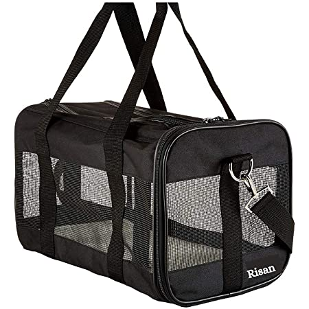 Risan Pet Transport Carrier Bag for Small Dogs Puppy Kittens Airline Travel Breathable Mesh Panels for Ventilation - 20 L x 11 W x 11 H Inches Black