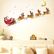 Decowall,DCH-003,Christmas Flying Santa Claus and Rudolph Wall Stickers
