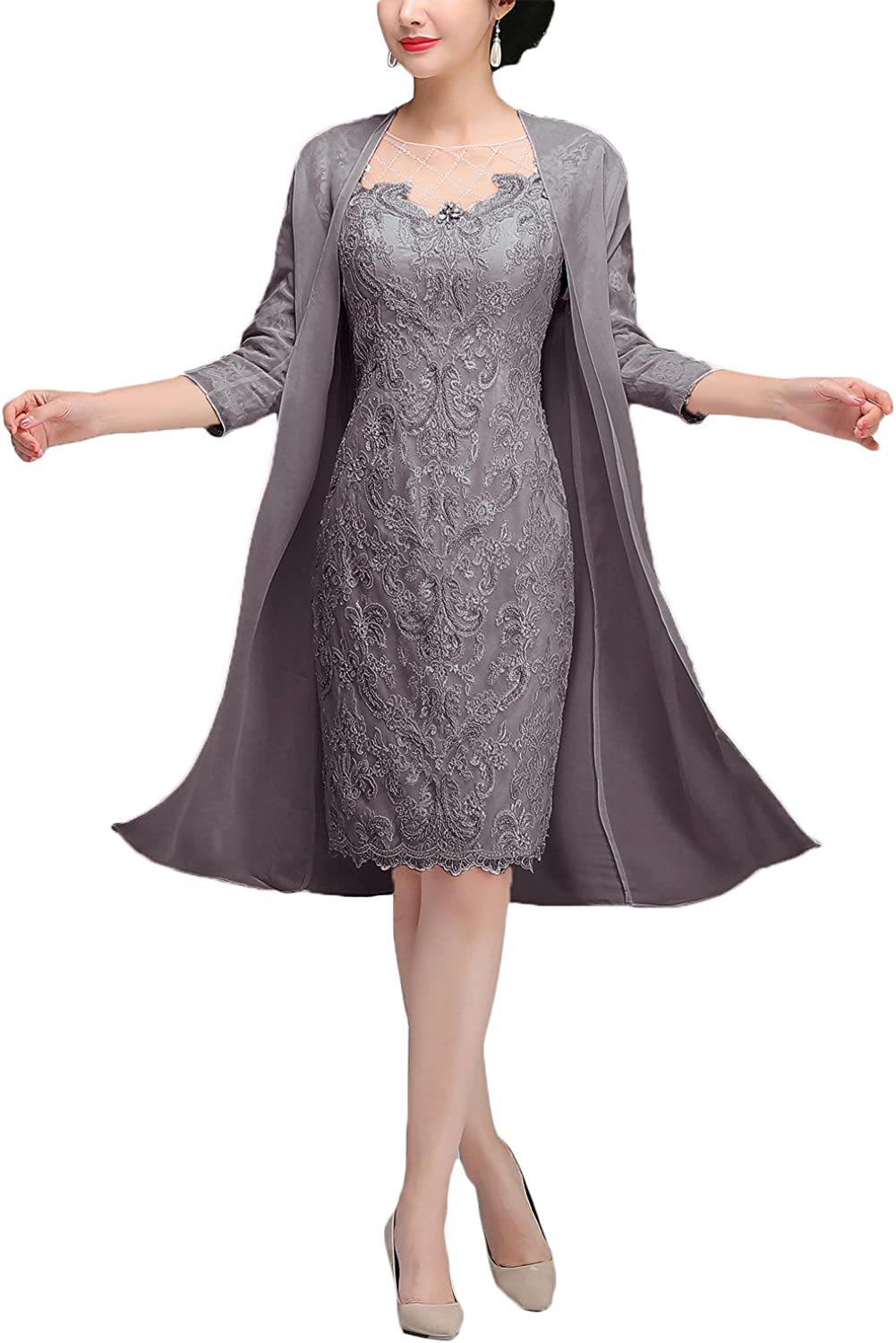 Newdeve Lace Mother Of The Bride Dresses With Jacket Tea Length Formal Gowns