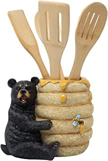 Decorative Black Bear in a Beehive Honey Pot Countertop Utensil Holder Crock Display Stand Table Statue for Cabin or Rustic Lodge Decor and Gourmet Kitchen Decorations As Housewarming Gifts