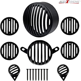 AllExtreme EXB8GCP PVC Front Rear Head Light Grill Cover Set with Tail Lamp Indicator Cup Compatible for Royal Enfield Bullet Calssic 350cc 500cc (Black)