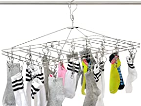 DreamColor Anti-Wind Stainless Steel Drying Hanger Rack 20/8 Pegs Clip Laundry Clothesline Dryer for Socks Underwear Towel...