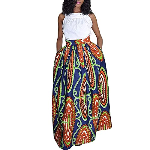 315bdcde4dd6db Womens African Floral Maxi Dress High Waist A Line Long Skirts with Pockets