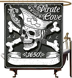 MaryMunger Funny Shower Curtain Pirate Pirate Cove Flag Year of 1650 Vintage Frame Crossbones Floral Swirls Hat Heart Metal Build W48x72L Black White Grey