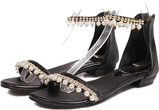 Women's Sandals Shoes Thick Heels Shoes Cover Heel Back Zipper Sandals