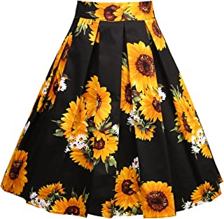 Girstunm Women`s Pleated Vintage Skirt Floral Print A-line Midi Skirts with Pockets