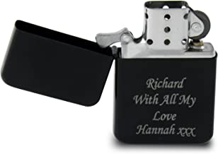 Personalised Engraved Black Lighter, Great Fathers Day, Birthday or Christmas present