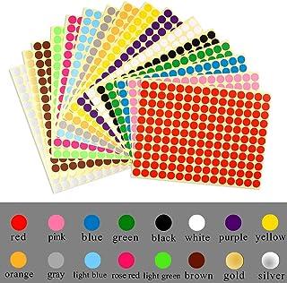 Tweal Pegatinas Redondas Colores,16 Hojas Etiquetas Adhesivas Redondas,10mm 16 Colores Pegatinas Color Círculo Etiquetas A...