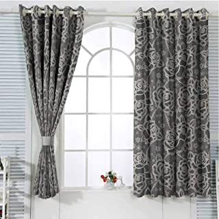 Vintage Bedroom Curtains Blackout Shades Ornate Romantic Roses Pattern Lace Style Backdrop and Victorian Inspirations Darkening Drapes for Bedroom W107 x L96 Inch Dark Taupe Cream