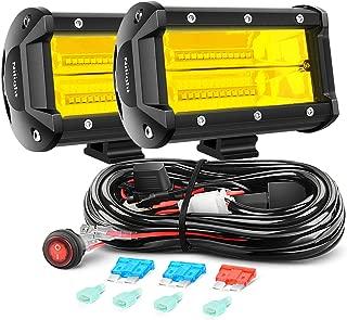 Nilight Led Light Bar 2 PCS 5Inch 72W 10800Lumens Yellow Flood Beam Fog Work Driving Lamps Off Road Pod Lights for Trucks Offroad Jeep ATV UTV SUV Boat Marine Motorc Lighting, 2 Year warranty