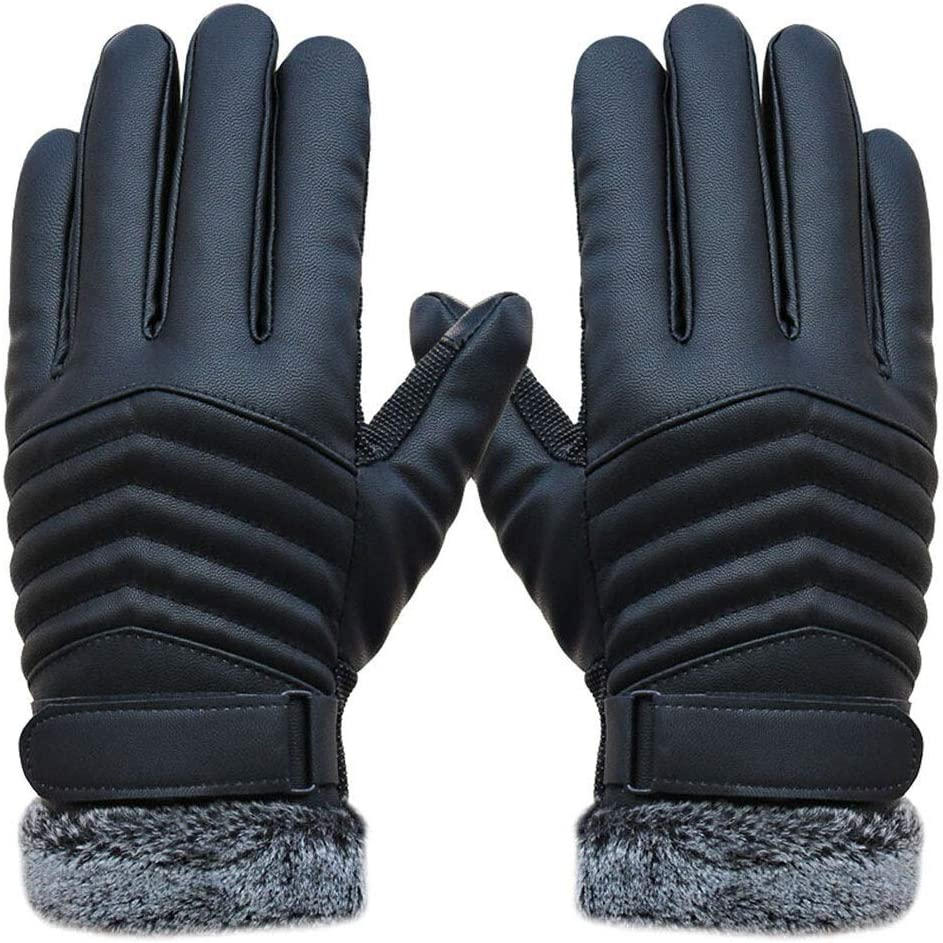 FASGION Anti Slip Gloves Men Thermal Warm Winter Black Gloves Outdoor Full Finger Windproof Thicken Mittens Glove Tactical Glove (Color : Black)