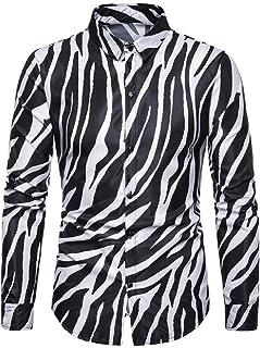 FSSE Men's Zebra Print Plus Size Long Sleeve Button Up Nightclub Dress Shirt