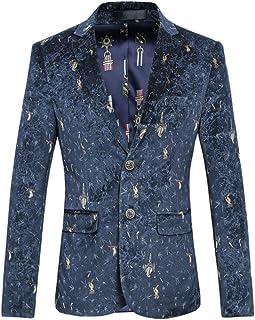 HZCX FASHION Men's Bird Silk Velvet Slim Fit Two-Button Casual Printed Blazer