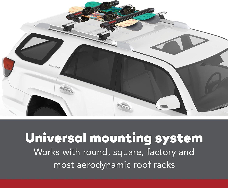 Fits Most Roof Racks FatCat EVO Premium Ski /& Snowboard Mount YAKIMA Rides Quietly