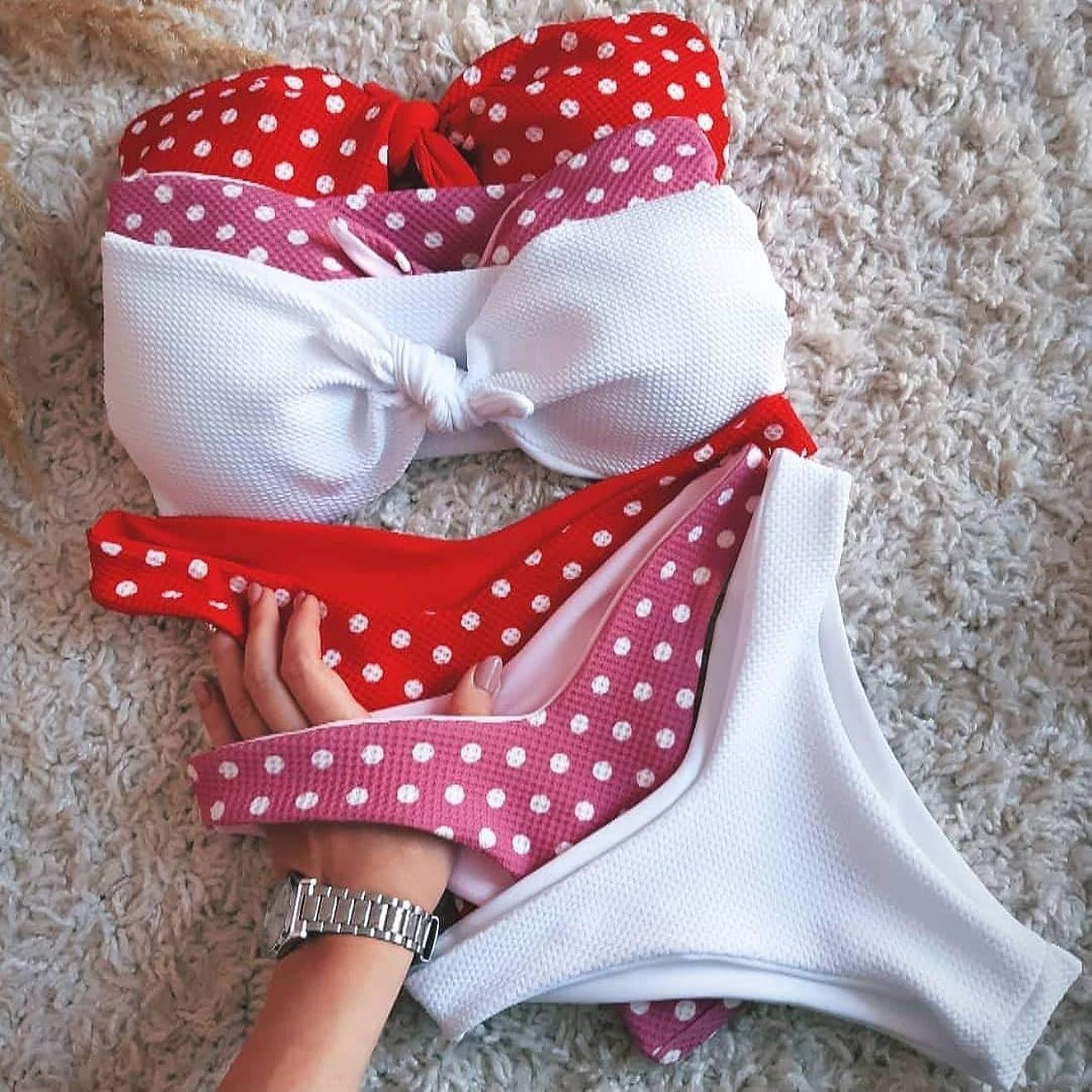 Two Pieces Swimsuit for Women Swimwear Polka dots Vintage swimsuit V-Bikini Bottoms Swimsuit for Ladies Plus Size Swimwear Wedding Bathing suit Honeymoon Swimwear High Waisted Swimming suit Beachwear