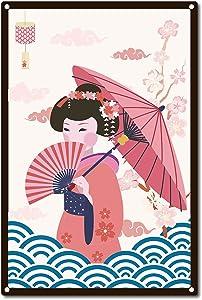 CREATCABIN Japanese Woman Metal Tin Sign Sakura Poster for Home Bedroom Bar Cafe Club Wall Decor, 8 x 12 Inch
