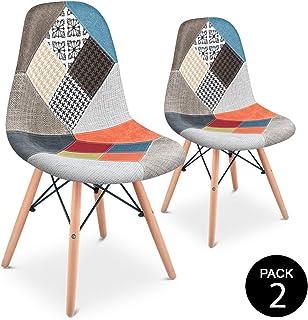 Mc Haus SENA Patchwork - Pack 2 Sillas comedor vintage patchwork tower multicolor naranja diseño tapizado sillas salon estilo retro diseño tower 49x46x84cm