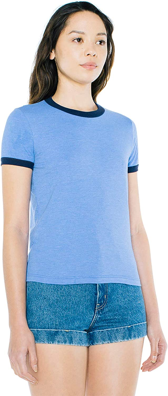 American Apparel Womens 50//50 Classic Ringer Short Sleeve T-Shirt