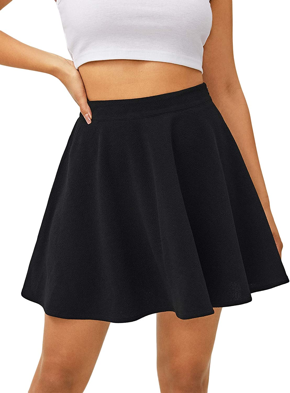 Milumia Women's High Waisted Zip up Casual Solid Flared Mini Skater Skirt